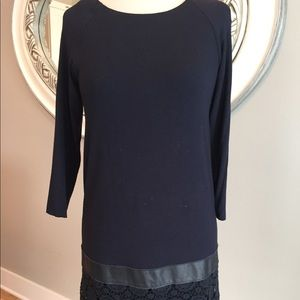 Bailey 44 Navy knit dress with lace skirt
